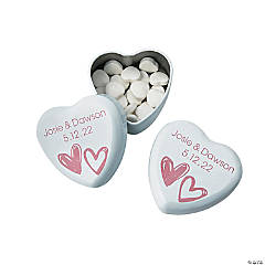 Personalized White Heart Mint Tins