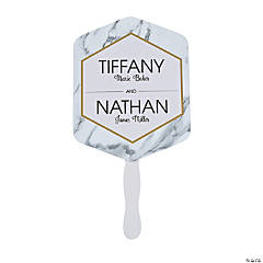 Personalized White Marble Favor Fans