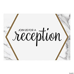 Personalized White Marble Reception Cards