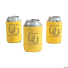 Personalized Yellow Horseshoe Can Coolers