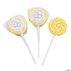 Personalized Yellow Two Hearts Swirl Pops