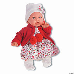 Petit Baby Girl Doll With Cherry Red Dress