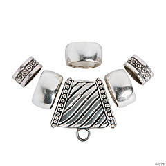 6-Piece Silvertone Scarf Ring Set