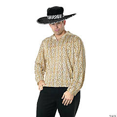 Pimp Costume Shirt - Gold Adult Men's