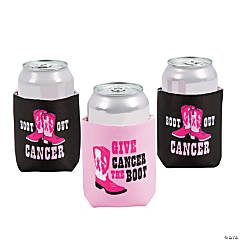 Pink & Black Give Cancer the Boot Can Covers