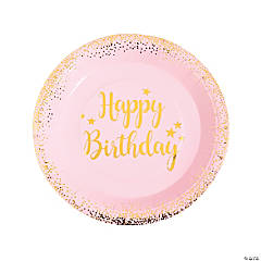 Pink & Gold Birthday Paper Dinner Plates