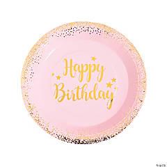 Pink & Gold Birthday Paper Dinner Plates