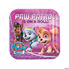 Pink & Purple Paw Patrol™ Square Paper Dinner Plates