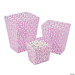 Pink Awareness Ribbon Candy Buckets
