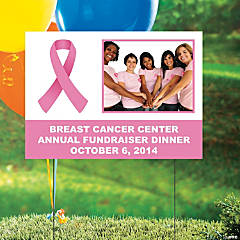Pink Awareness Ribbon Custom Photo Yard Sign