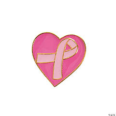 Pink Awareness Ribbon Heart Pins