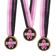 Pink Awareness Ribbon Survivor Medals