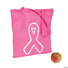 Pink Awareness Ribbon Tote Bags