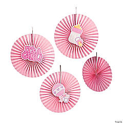 Pink Baby Shower Hanging Fans