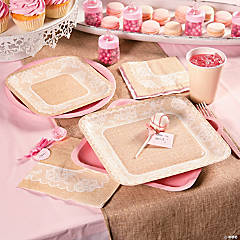 Pink Burlap Baby Shower Party Supplies
