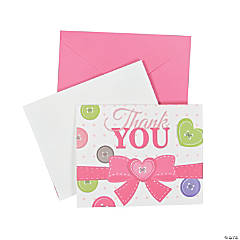 Pink Button Thank You Cards