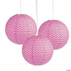 Pink Chevron Hanging Paper Lanterns