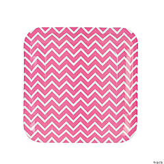 Pink Chevron Paper Dinner Plates
