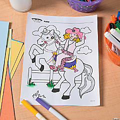 Pink Cowgirl Free Printable Coloring Page
