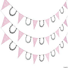 Pink Cowgirl Paper Pennant Banner