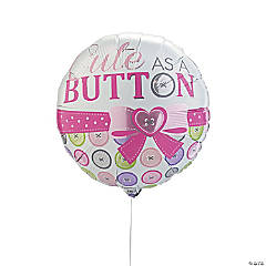Pink Cute As a Button Mylar Balloon