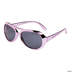 Pink Metallic Aviator Sunglasses