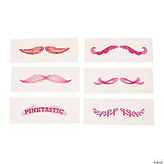 Pink Mustache Tattoos