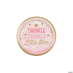 Pink One Little Star Dessert Paper Plates