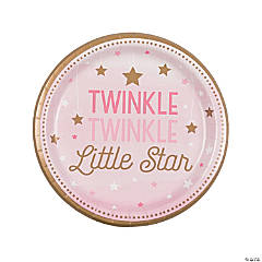 Pink One Little Star Dinner Paper Plates