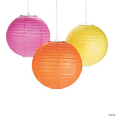 Pink, Orange & Yellow Hanging Paper Lanterns