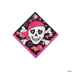 Pink Pirate Girl Beverage Napkins