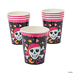 Pink Pirate Girl Paper Cups