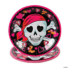 Pink Pirate Girl Paper Dinner Plates