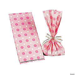 Pink Polka Dot Cellophane Bags