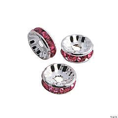 Pink Rhinestone Rondelle Spacers