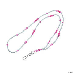 Pink Ribbon Beaded Lanyard