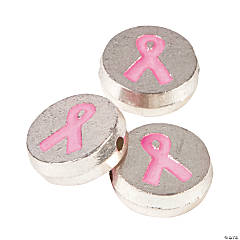 Pink Ribbon Beads - 12mm with a 1mm hole