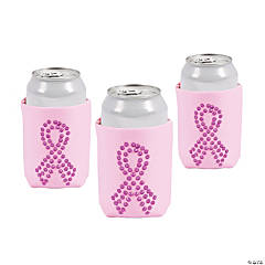 Pink Ribbon Bling Can Coolers