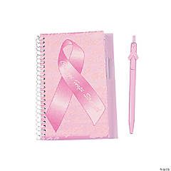 Pink Ribbon Courage Hope Strength Spiral Notebook & Pen Sets
