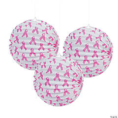 Pink Ribbon Hanging Paper Lanterns
