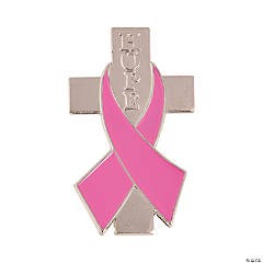 Pink Ribbon Pins with Cross
