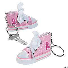 Pink Ribbon Tennis Shoe Keychains