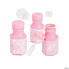 Pink Script Monogram Wedding Mini Bubble Bottles