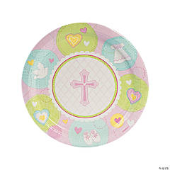 Pink Sweet Christening Paper Dinner Plates