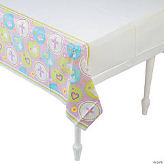 Pink Sweet Christening Plastic Tablecloth