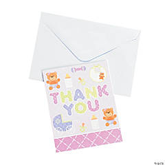 "Pink Teddy Bear Baby Shower ""Thank You"" Cards"