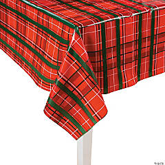 Plaid Christmas Plastic Tablecloth Roll