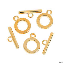 Plain Goldtone Toggle Clasp - 13mm ring, 19mm bar
