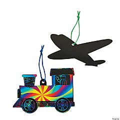 Planes & Trains Magic Scratch Ornaments