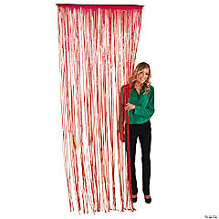 Plastic Burgundy Fringe Door Curtain
